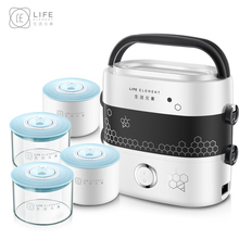 цена Ceramics Electric Lunchbox Double Plug In Thermal Lunch Box Heating Cooking Lunch Box Hot Rice Cooker 1.2L 1-2 People
