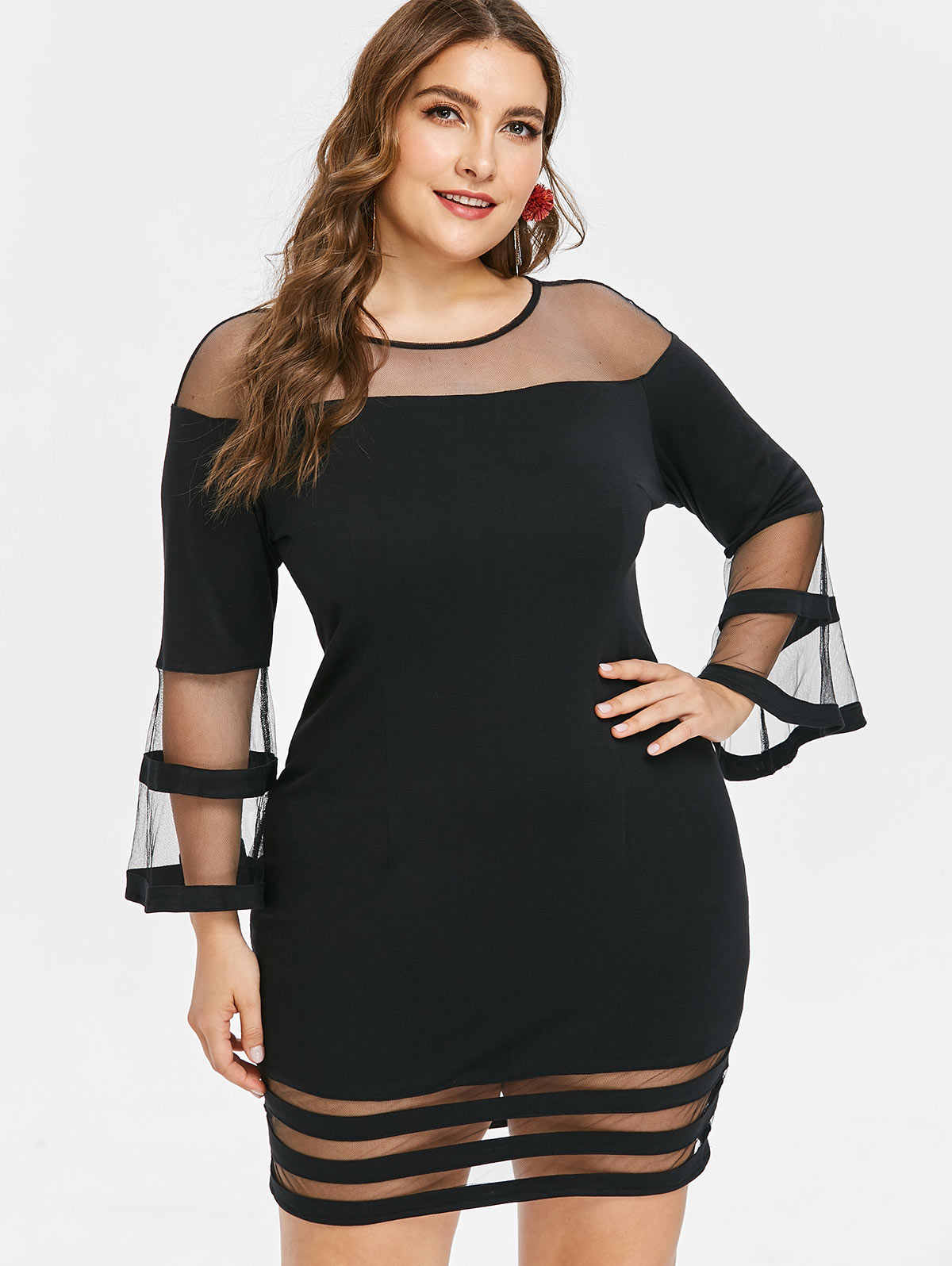 Wipalo Plus Size 5XL Flare Sleeve Mesh Yoke Dress Casual Solid Round Collar  Bodycon Mini Dress 5b65f32b43ec
