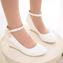 Fashion Spring Autumn Women's Shoes EUR Size 35-43 US Sizes 4-12 Female Single shoes 2016 New Lady Mid Wedge Heel Woman Pumps