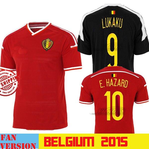 7ffae188fd6 New HAZARD 2015 Belgium Jersey SOCCER 15 16 Belgium Soccer SHIRTS 2016  COMPANY LUKAKU National Team Shirt Home Red Away Black