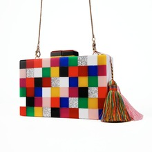 Геометрический Повседневный клатч, сумки-мессенджеры, дизайнерская женская вечерняя сумка, сумка на плечо для девочек, Сумка с клапаном, разноцветные акриловые клатчи в коробке