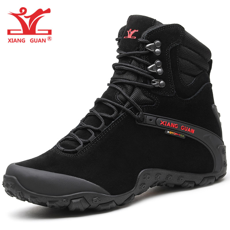 XIANGGUAN Man Hiking Shoes Men Cow Leather High Top Trekking Boots Black Waterproof Sport Climbing Shoe Outdoor Walking Sneakers yin qi shi man winter outdoor shoes hiking camping trip high top hiking boots cow leather durable female plush warm outdoor boot