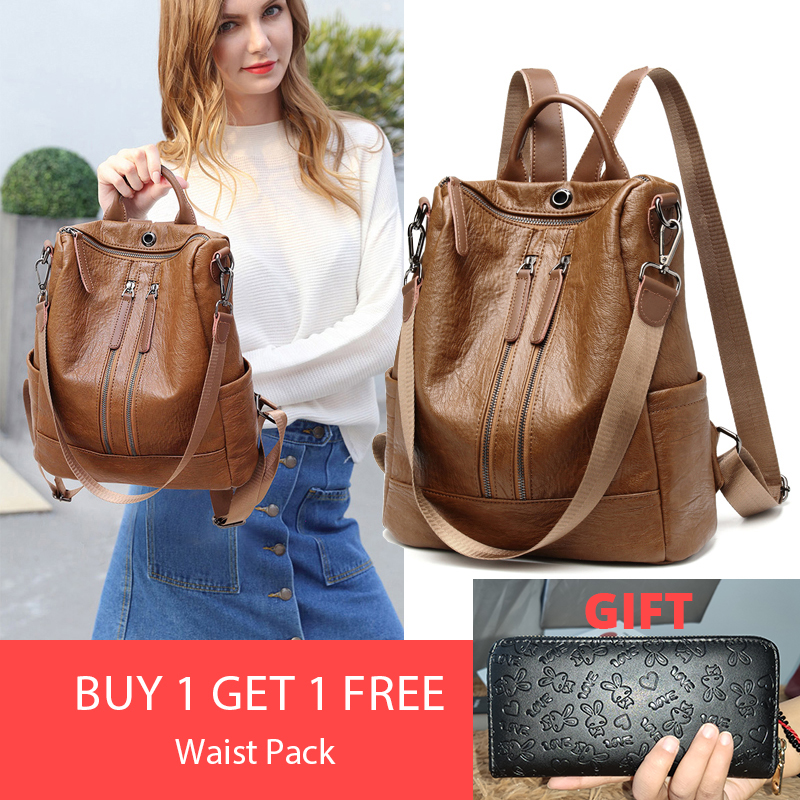 2019 Women Leather Backpack Female Shoulder Bags Sac A Dos Ladies Bagpack Fashion School Bag For Girls Travel Back Pack New2019 Women Leather Backpack Female Shoulder Bags Sac A Dos Ladies Bagpack Fashion School Bag For Girls Travel Back Pack New