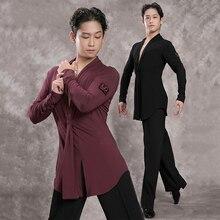 Топ для латинских танцев с длинным рукавом, сексуальный v-образный вырез, мужские рубашки для латинских танцев, Румба, ча-Самба, танцевальная одежда для соревнований, сценическая одежда для мужчин DN3246