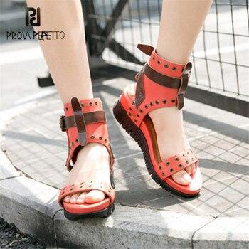 Prova Perfetto Rivets Studded Summer Sandals Straps Women Platform Sandal Beach Wedge Shoes Woman Sandalias Mujer Creepers