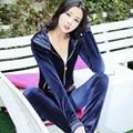 Slim women velvet hooded pullover hoodie suit women sportswear  suit sportswear Spring Sudadera D023