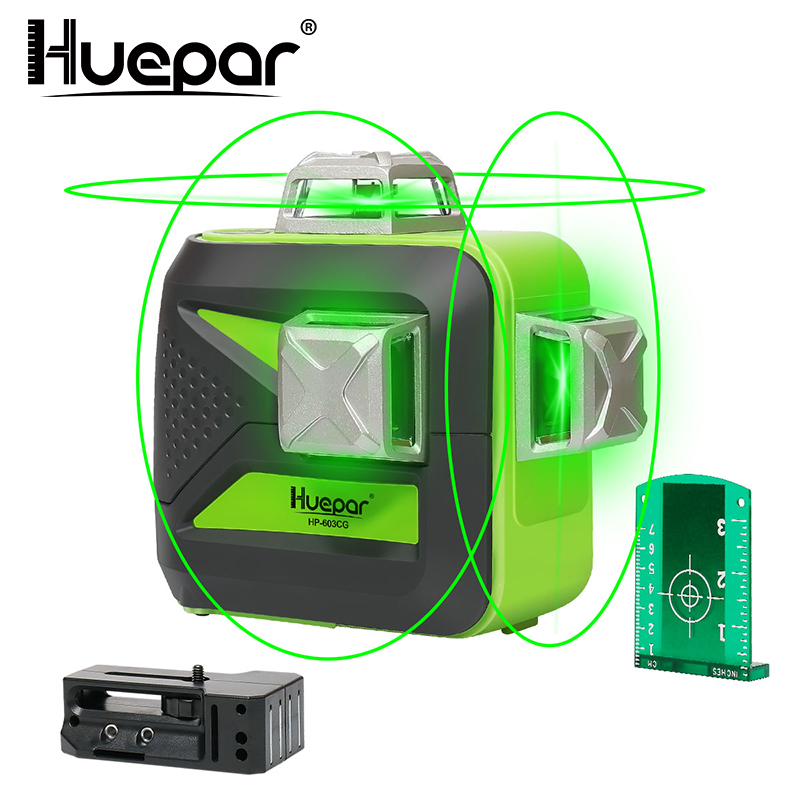 Huepar 12 Lines 3D Cross Line Laser Level Self-Leveling 360 Vertical & Horizontal Green Beam USB Charge Use Dry & Li-ion Battery