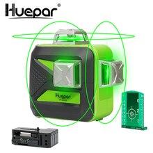 Huepar 12 линий 3D Cross Line лазерный уровень самонивелирующийся 360 вертикальный и горизонтальный зеленый луч USB зарядка использование сухой и литий-ионный аккумулятор