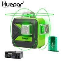 Huepar 12 Lines 3D Cross Line Laser Level Self Leveling 360 Vertical & Horizontal Green Beam USB Charge Use Dry & Li ion Battery