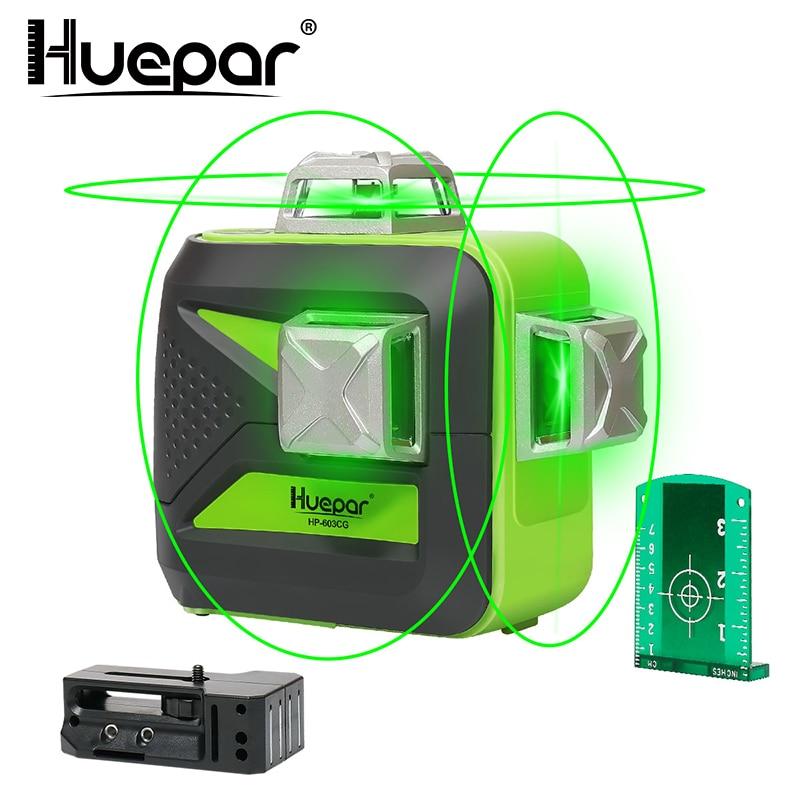 Huepar autonivelamento de laser, linha cruzada 3d, 12 linhas, 360 de uso vertical e horizontal, feixe verde bateria seca e íon de lítio