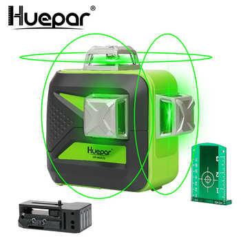 Huepar 12 lignes 3D ligne croisée niveau Laser auto-nivelant 360 faisceau vert Vertical et Horizontal USB Charge utilisation batterie sèche et Li-ion