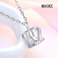 Promotion S925 Silver Classic Crown Crystal Pendant Rose Gold Smart Necklace Fashion Jewelry for Women's Fashion Gifts