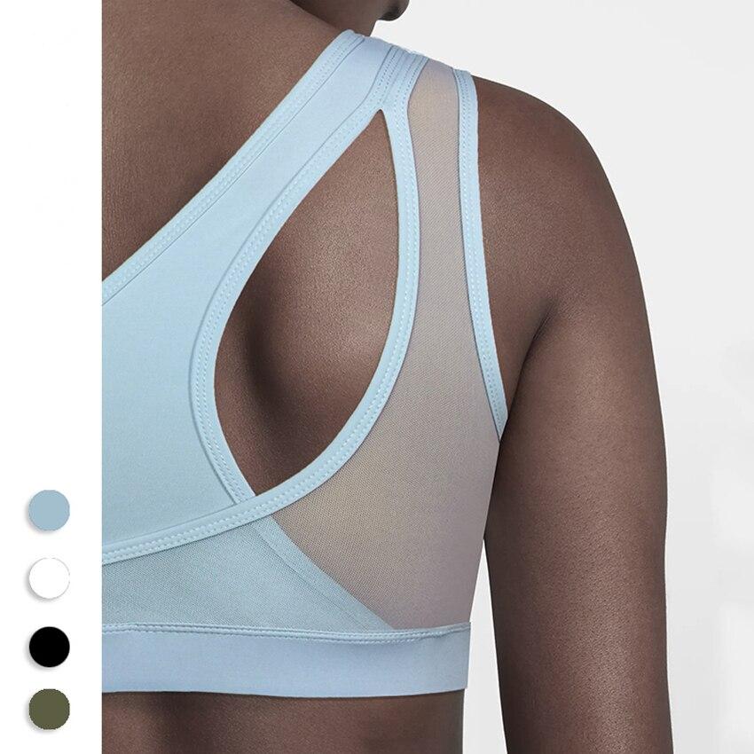 f87799c6eb Detail Feedback Questions about One F Sports Bra For Women Gym Oblique One  Shoulder High Impact Shockproof Fitness Sportswear Underwear Mesh Back Yoga  Bra ...
