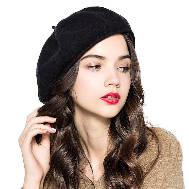 placeholder FS French Women Beret 100% Wool Hat Winter Felt Casquette Flat  Cap For Ladies Black 4e81c44e50b