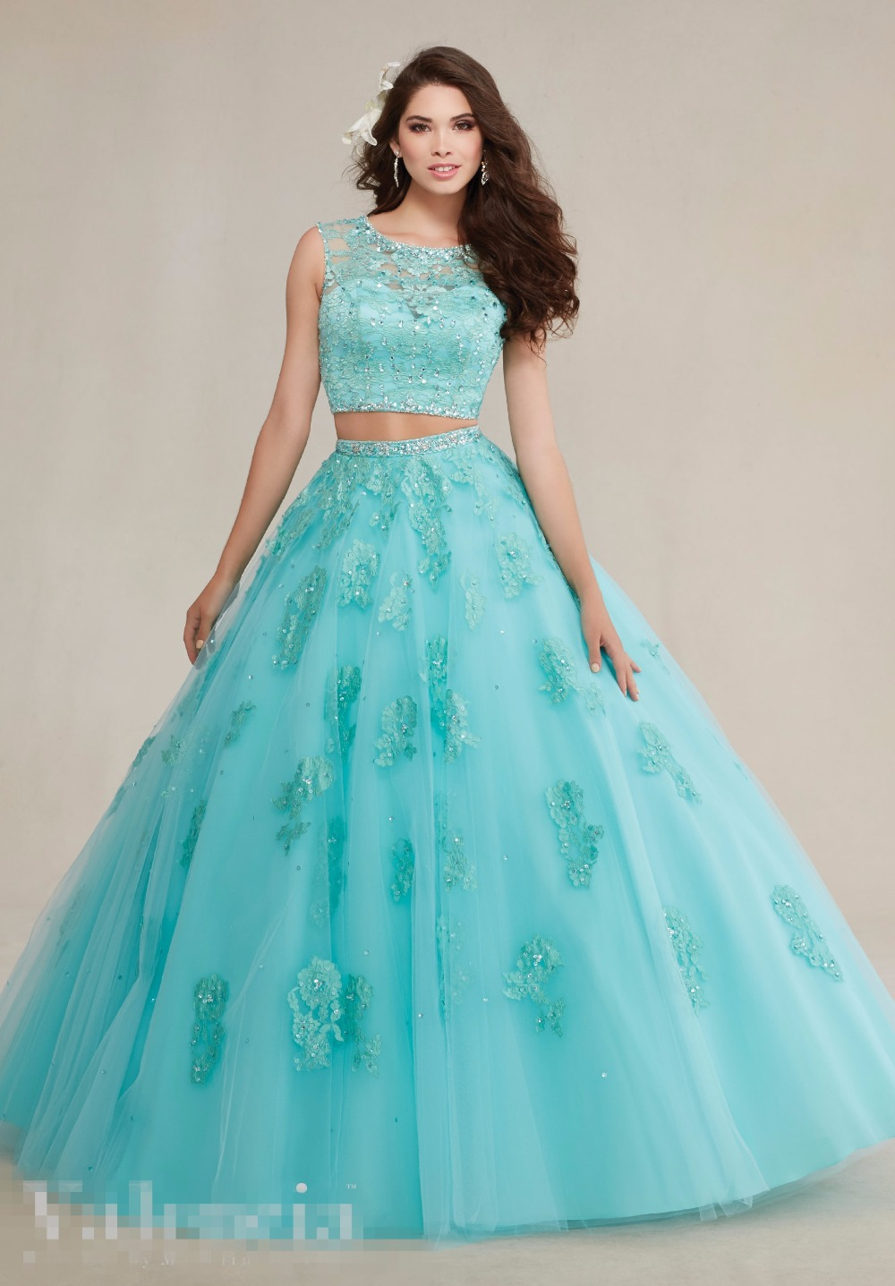 f0a9fc403f2 Mint Ball Gown Prom Two Pieces Quinceanera Dresses 2 Lace Tulle Beaded  Sleeveless Sweet