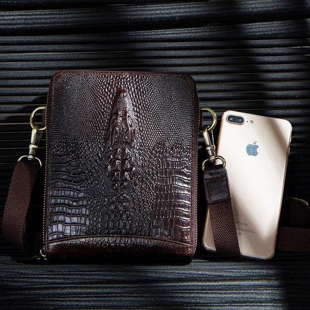 Top Quality Men Messenger Shoulder Bag Genuine Leather Vintage Men's Crocodile Crossbody Bag With Card Holder Mobile Phone Pouch 4