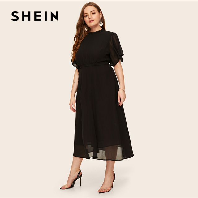 SHEIN Plus Size Black Tie Back Flutter Sleeve Dress 2019 Women Summer Elegant Stand Collar High Waist A Line Plus Long Dresses 1