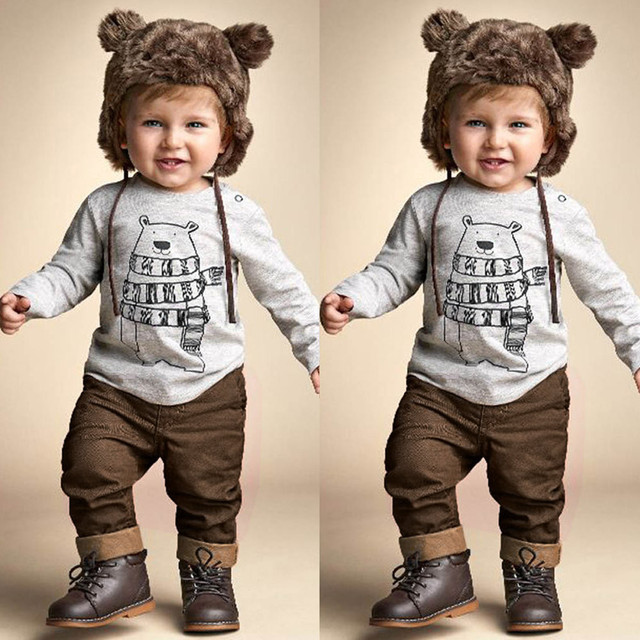 5be1510b5de04 2018 Toddler Baby Boys Clothes Suits Long Sleeve Cartoon Gray Bear Printed  T-Shirt + Pants Outfits Set vetement enfant garcon