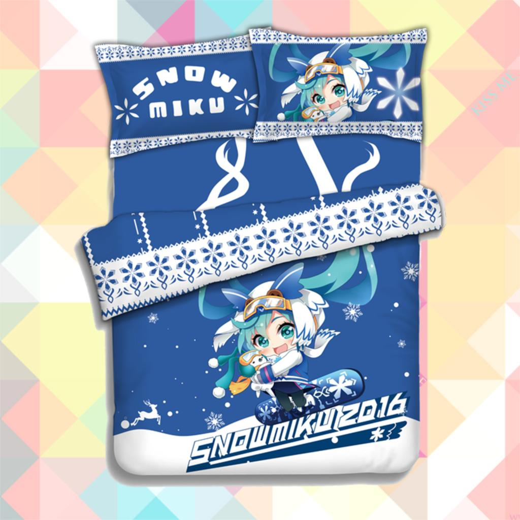 New Anime Cartoon Snow Hatsune Miku Cover Soft Printed Bedding Set With Pillow Cases Bed Sheet Duvet Cover Set  4pc No.CP151204