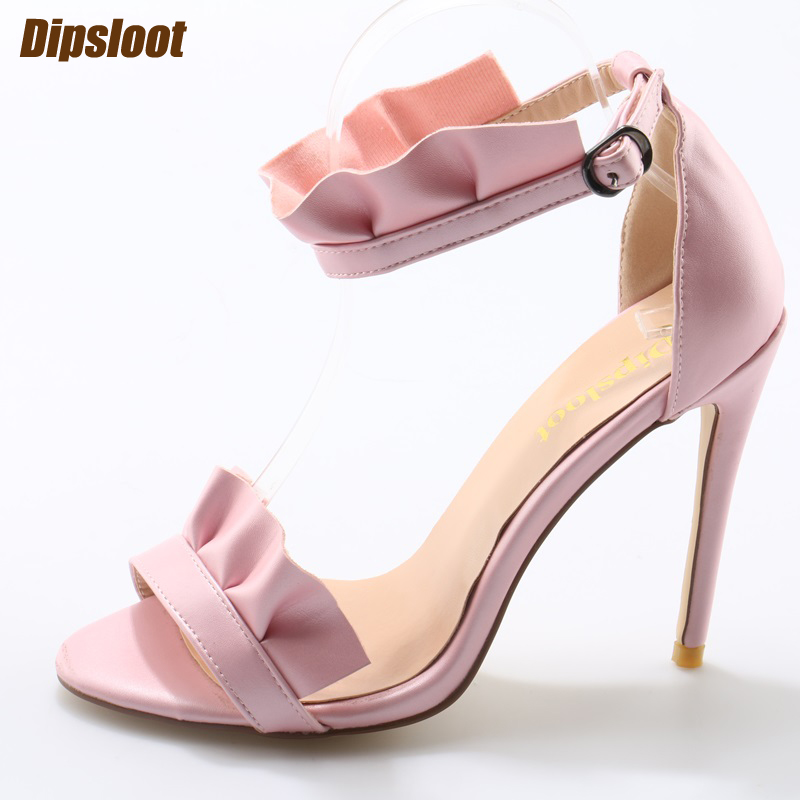2017 Summer Fashion Ruffles Women Open Toe Sandals Ankle Buckle Ladies Sexy High Heels Gorgeous Club Stiletto Pink High Heels summer new fashion blue purple feather straps women open toe sandals sexy t strap ankle buckle ladies high heels size42
