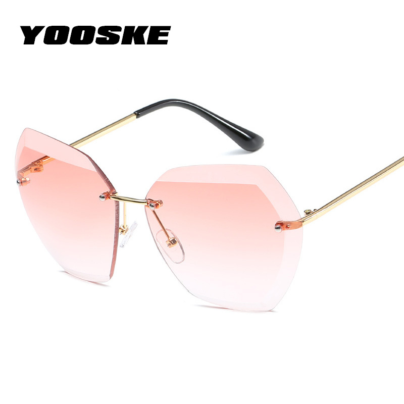YOOSKE Rimless Diamond Cutting Lens Sunglasses For Women Brand Designer Shades Sun Glasses Oversize Women's Glasses