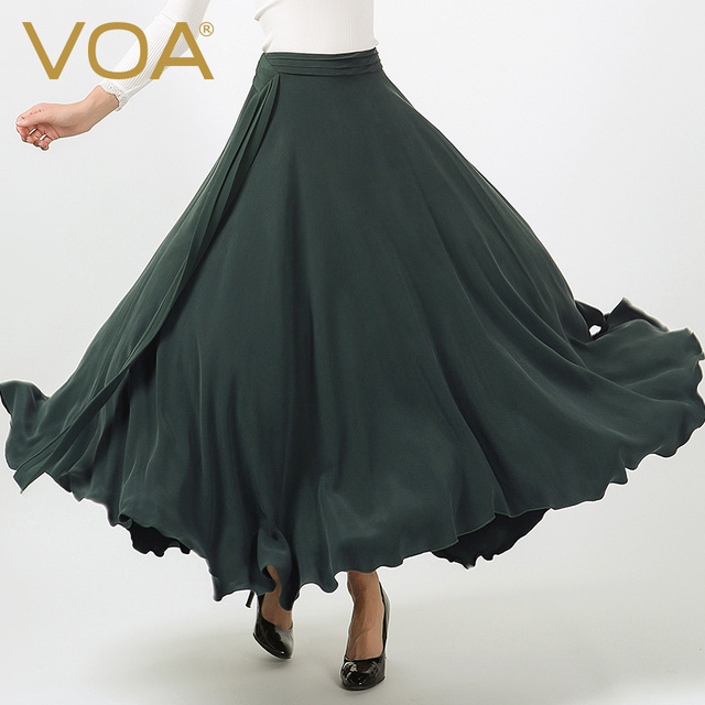 b9a0f762a32 VOA Plus Size Heavy Silk Long Skirt Women Dark Green Casual Brief Solid  Thick Boho Pleated