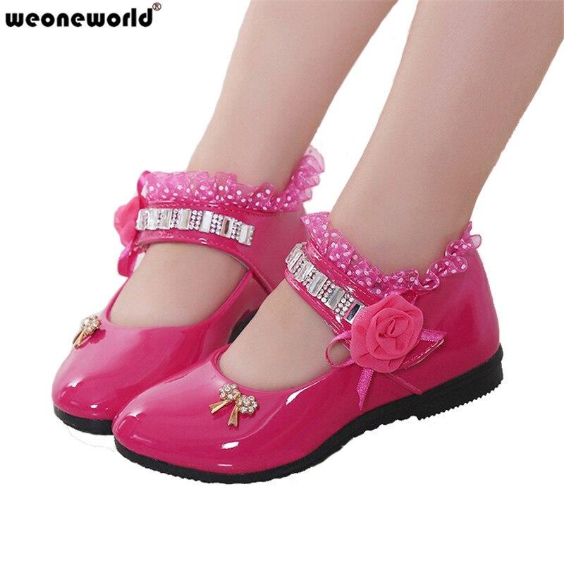 WEONEWORLD 2018 Spring Autumn Lace Leather Dance Shoes Kids Girls Flower  Princess Wedding Shoes 4 Colors ... d575d53c5692