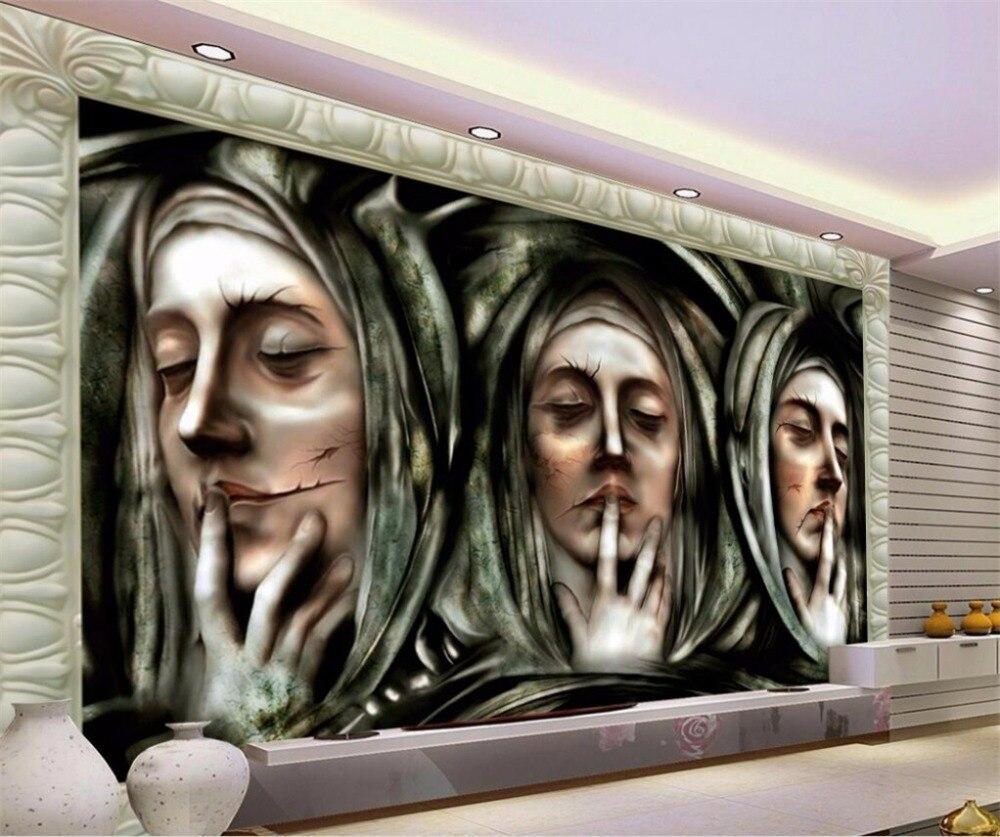 US $8 4 OFF Beibehang Kustom Foto Mural 3d Eropa Stereo Gaya Wajah Patung Dinding Latar Belakang TV Kertas Dekoratif Lukisan Papel De Parede Papel