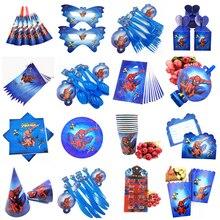 Человек-паук с днем рождения украшения Дети одноразовые посуда тарелка скатерть чашки, ребенок, душ партия поставок пользу