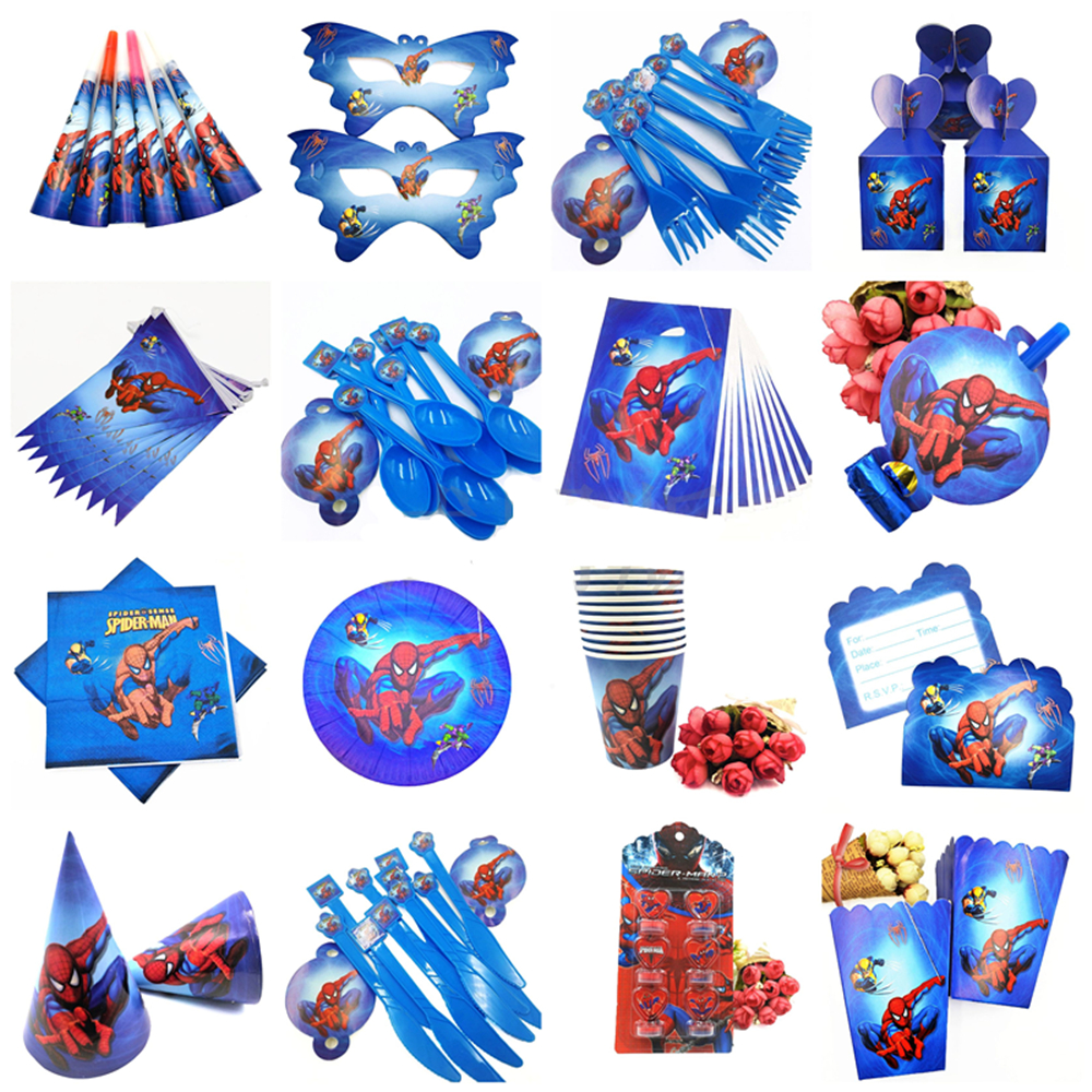 Spider Man Party Supplies Favors Set Napkins Plates Tablecloth Cups Knives Forks Spoons Spiderman Birthday Party Decoration Kids