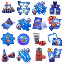 Spider man Party supplies Favors Set Napkins Plates Tablecloth Cups Knives Forks Spoons Spiderman Birthday Party Decoration Kids(China)
