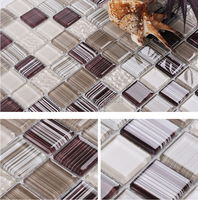 Brown Kitchen glass mosaic wall tile,Bathroom art design wall tile,fireplace wall home floor improvement decor tiles,LSC103