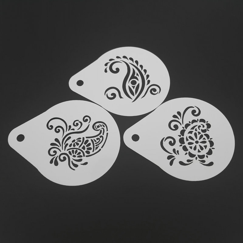 2.8 Inch Flower Coffee Stencil Set Milk Cappuccino Latte Art Tools Plastic Cookie Mold Cafe Decoration