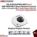 Câmera de vigilância hikvision versão original em inglês ds-2cd2542fwd-iws (4mm) 4mp wdr mini câmera dome ip poe wi-fi áudio câmera