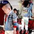 2016 otoño y el invierno caliente Niños Chaqueta Vaquera de dibujos animados de animales Camiseta impresa patrón de la moda chaqueta informal