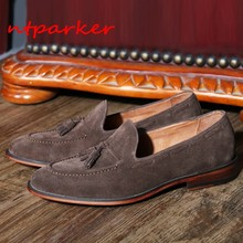 Tassel Fringe Suede leather Man Loafers Shoes Flats Genuine leather Slip on Formal Casual Shoes Italian Style Cow Driving Boats