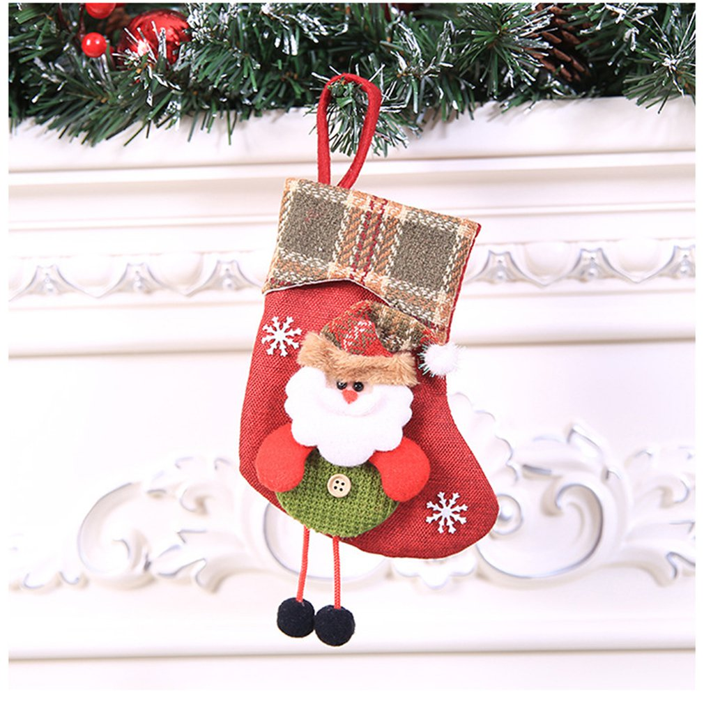 Christmas Small Plaid Side Christmas Stocking Halloween Ornaments Cute For Christmasman To Package Candy Children New Year GIFTS