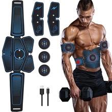 6 adet kablosuz kas stimülatörü eğitmen akıllı spor karın eğitim elektrikli kilo kaybı çıkartmalar vücut zayıflama kemeri Unisex