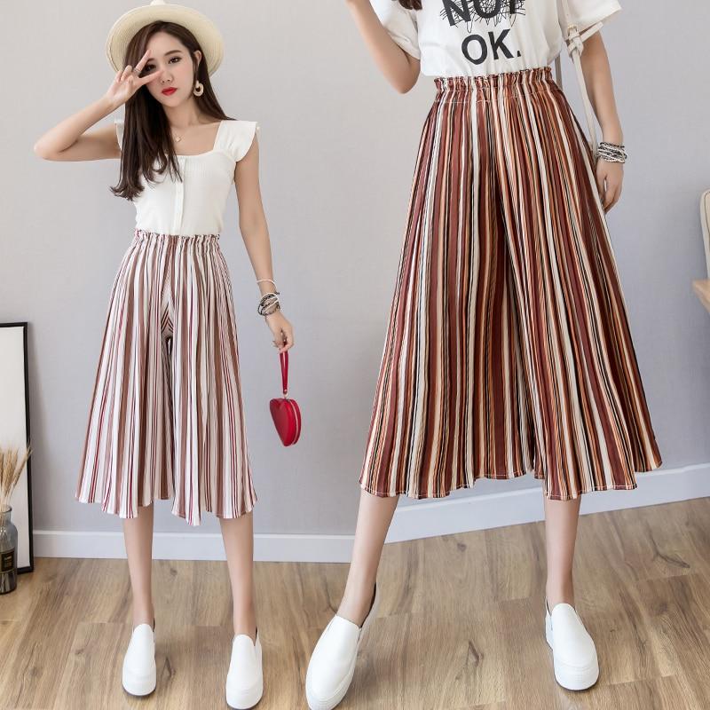 2019 New Ins Pleated Elastic High Waist   Wide     Leg     Pants   Women Trousers Streetwear Chiffon   Pants   Female Plus Size Summer   Pants