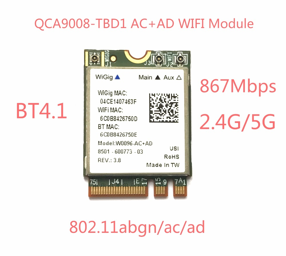Atheros QCA9008-TBD1 sans fil AC + AD Bluetooth 4.1 Module WIFI 2.4G/5G double bande carte WIFI 867 MbpsAtheros QCA9008-TBD1 sans fil AC + AD Bluetooth 4.1 Module WIFI 2.4G/5G double bande carte WIFI 867 Mbps