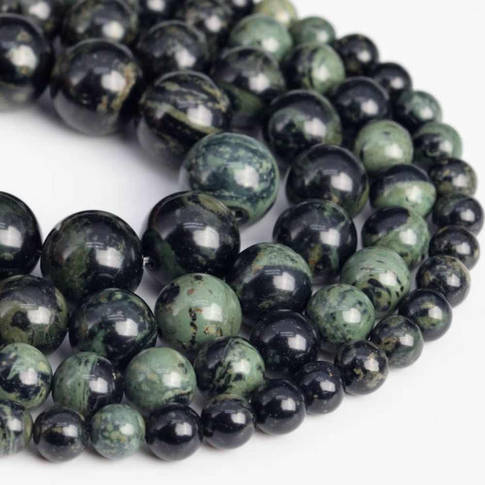 Free Shipping Natural Stone 4-12mm Round Green Black Kambaba Jaspers Beads Beads For Jewelry Making DIY Bracelets Necklaces