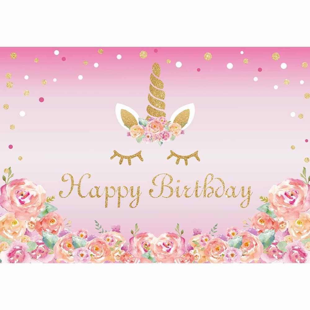 Funnytree photocall Единорог фон Симпатичный розовый Золотая красочные маленький размер ребенка день рождения фото фон для фотографирования