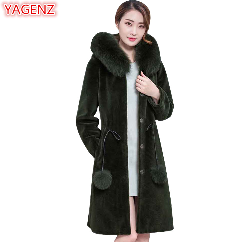 YAGENZ New product Fur collar Hooded Imitation Lamb hair Womens clothes Top quality Fur coat Womens Winter Jacket Large size 588