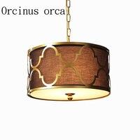 American Style Iron Golden Chandelier Nordic Modern Simple Black Fabric Pendant Living Room Restaurant Bedroom Round