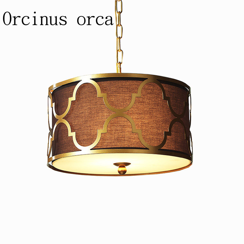 American style iron golden chandelier Nordic modern simple black fabric pendant living room restaurant bedroom round Chandelier modern simple european style dining room lighting american hollow carved iron bedroom pendant lights