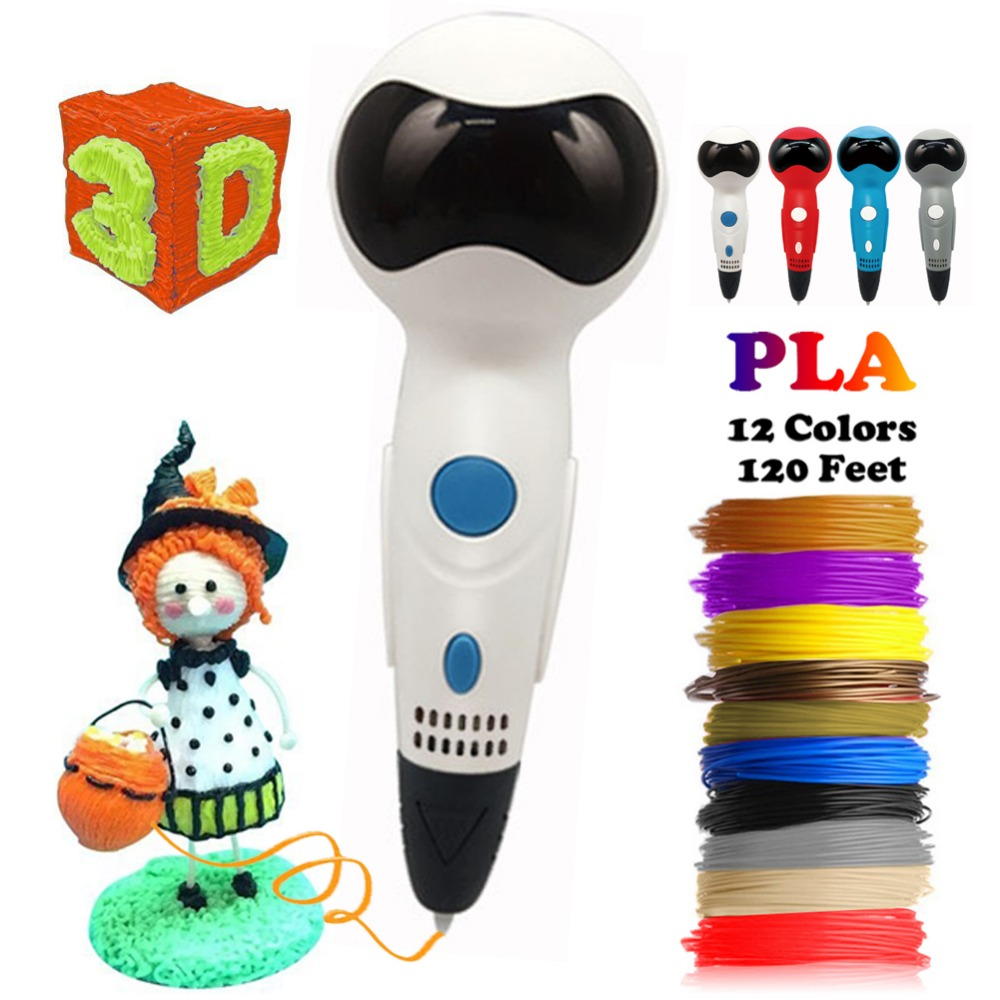 Dikale 3D Printing Pen Robot Voice Prompt Stylo 3D Drawing Printer Pencil Free PLA Filament Refill Kid Adult Xmas Birthday Gift new arrival 3d printing pen with 100m 10 color or 200 meter 20 color plastic pla filaments 3 d printer drawing pens for kid gift