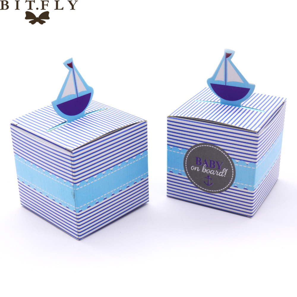 50pcs candy box Baby On Board! Pop-Up Sailboat Baby Candy Box Blue green Tie candy box Baby Shower Decorations Kids Favor Gift