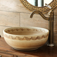 Ceramic washbasin above counter basin round washbasin art basin Chinese wash basin wash basin balcony antique LO628419