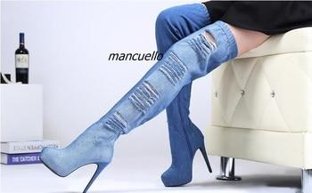 Trendy Light Wash Blue Jeans Thigh High Boots Sexy Denim Cut-out Stiletto Heel Platform Boots Women Fashion Shoes New Arrival denim