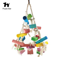 Purple Star Pet Parrot Colorful Wood Chewing Blocks Cotton Ropes Bite Toys Cage Pendant Decor Macaw